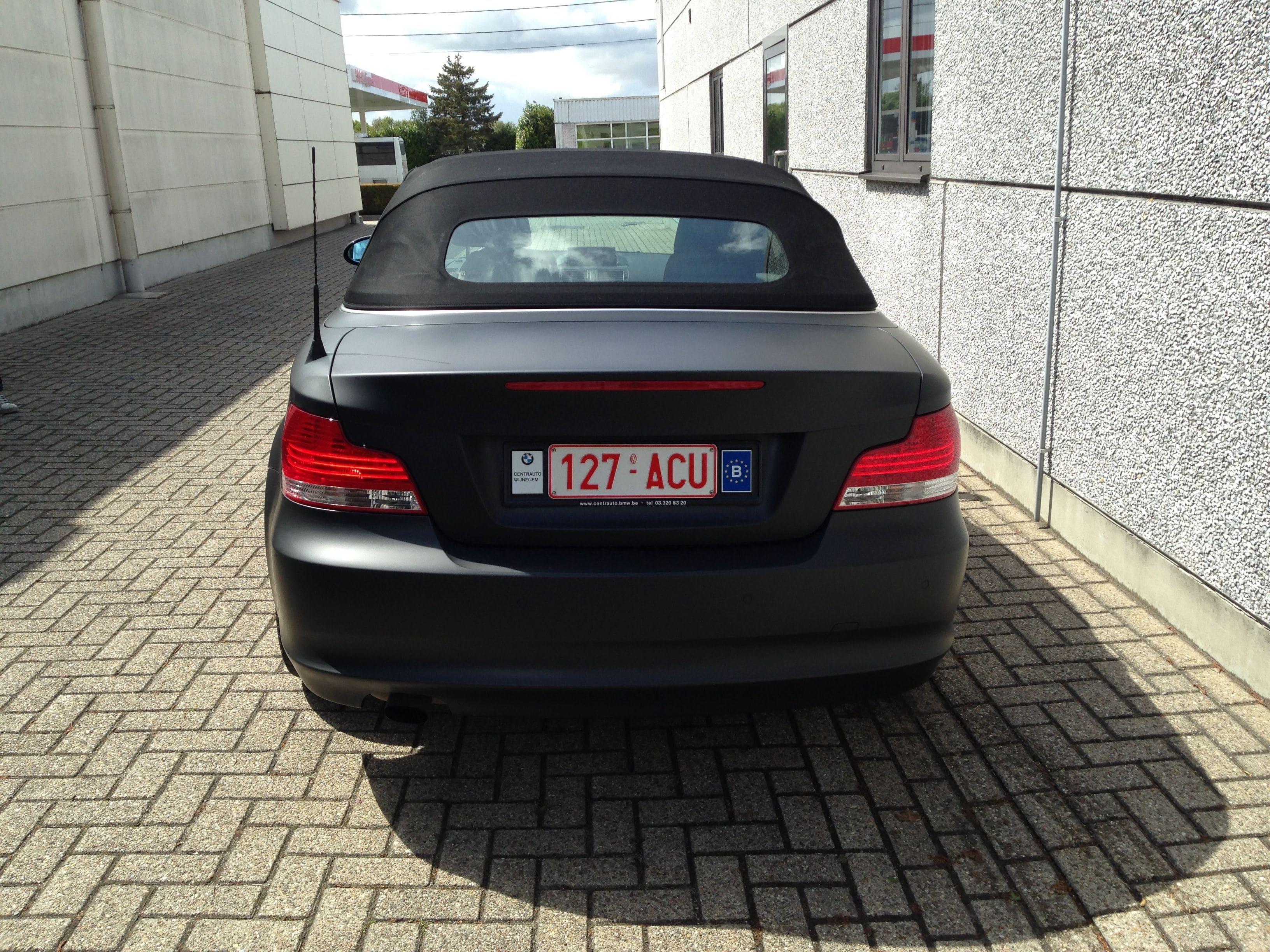BMW 1 Serie Cabrio met Mat Zwarte Wrap, Carwrapping door Wrapmyride.nu Foto-nr:5195, ©2021