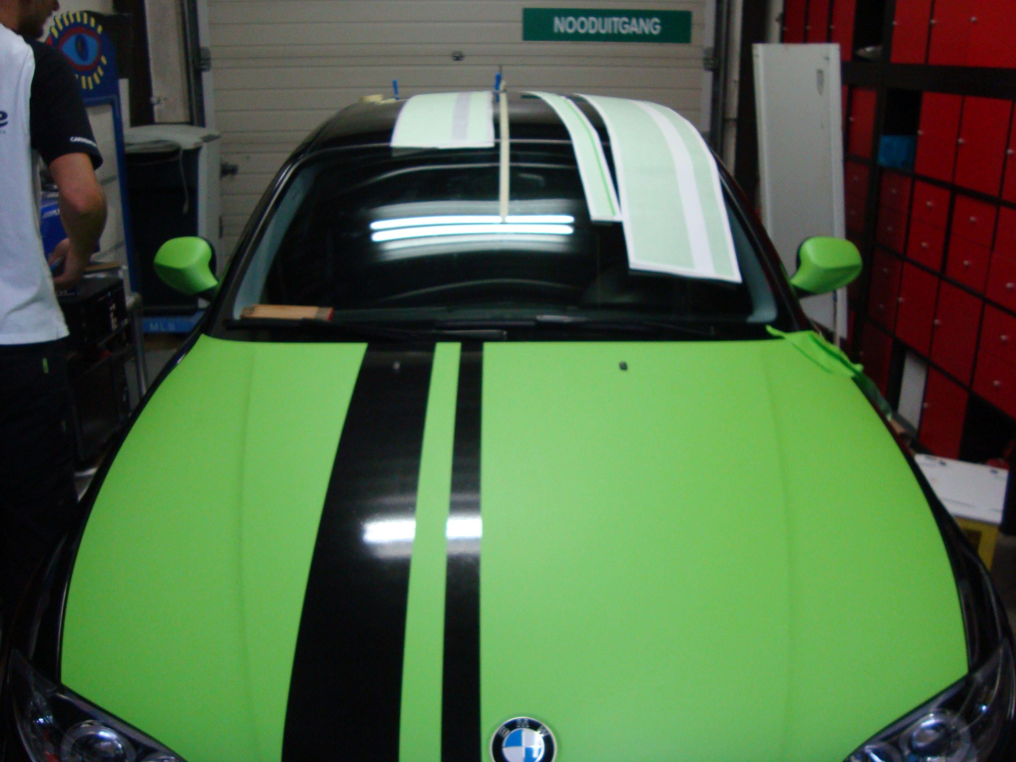 BMW 1 Serie met gedeeltelijke Toxic Green Wrap, Carwrapping door Wrapmyride.nu Foto-nr:5200, ©2021