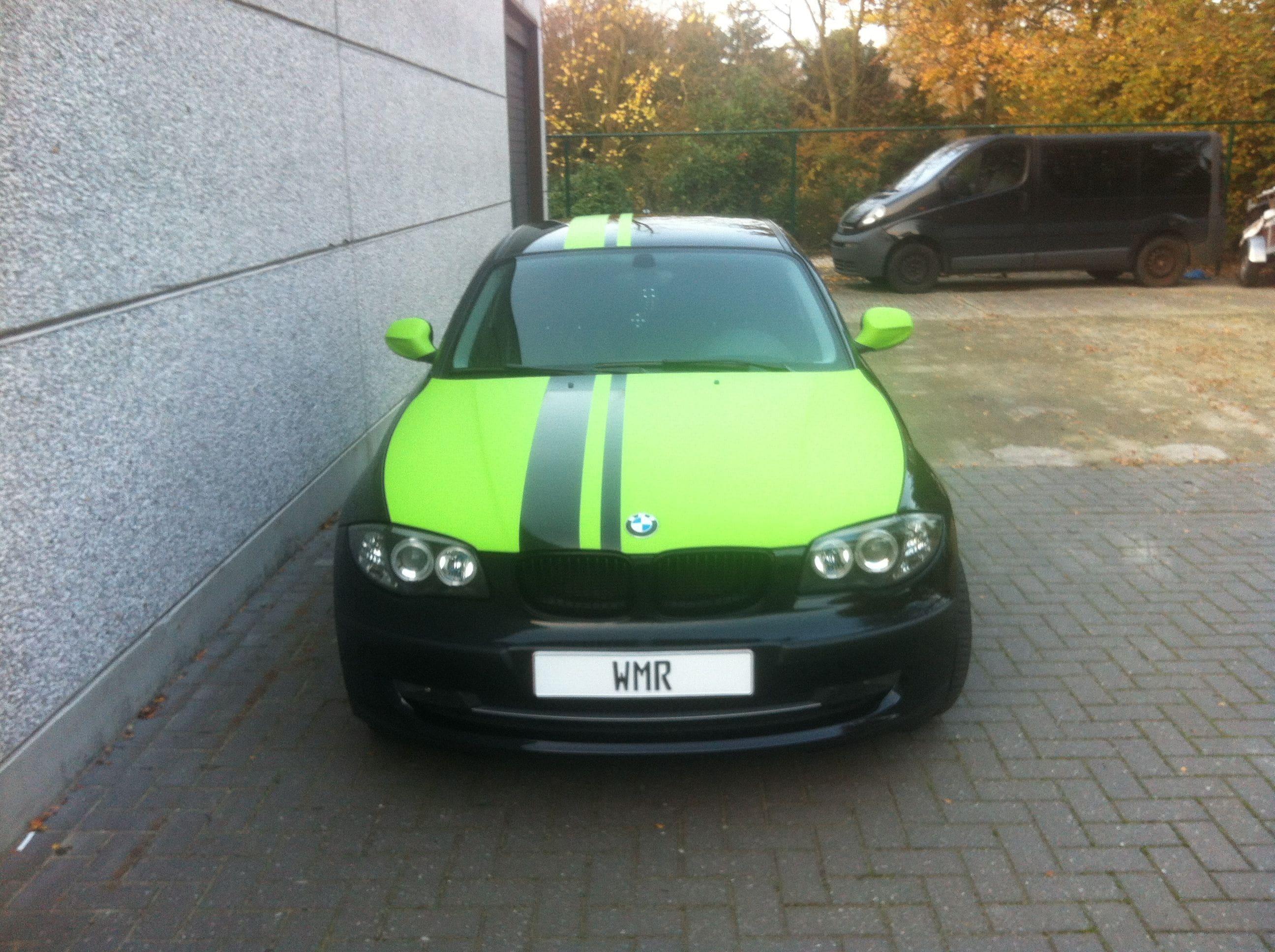 BMW 1 Serie met gedeeltelijke Toxic Green Wrap, Carwrapping door Wrapmyride.nu Foto-nr:5201, ©2021