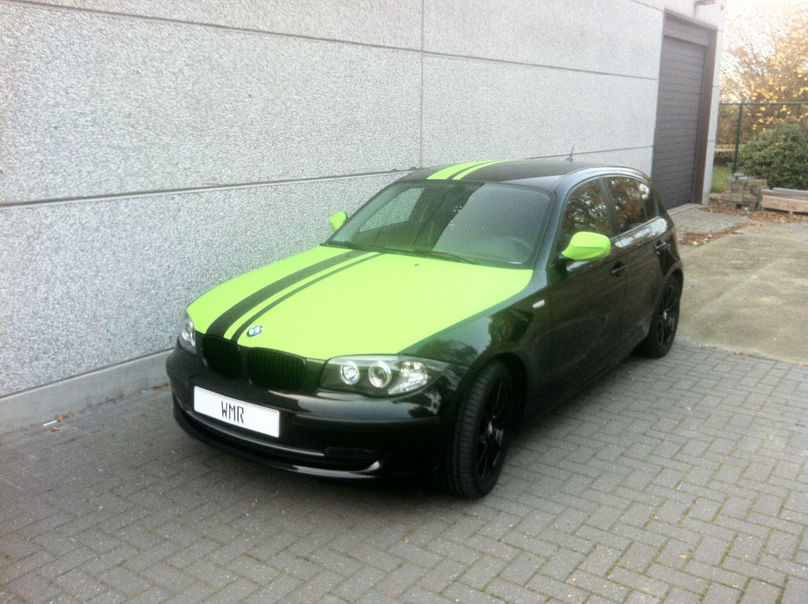 BMW 1 Serie met gedeeltelijke Toxic Green Wrap, Carwrapping door Wrapmyride.nu Foto-nr:5202, ©2021