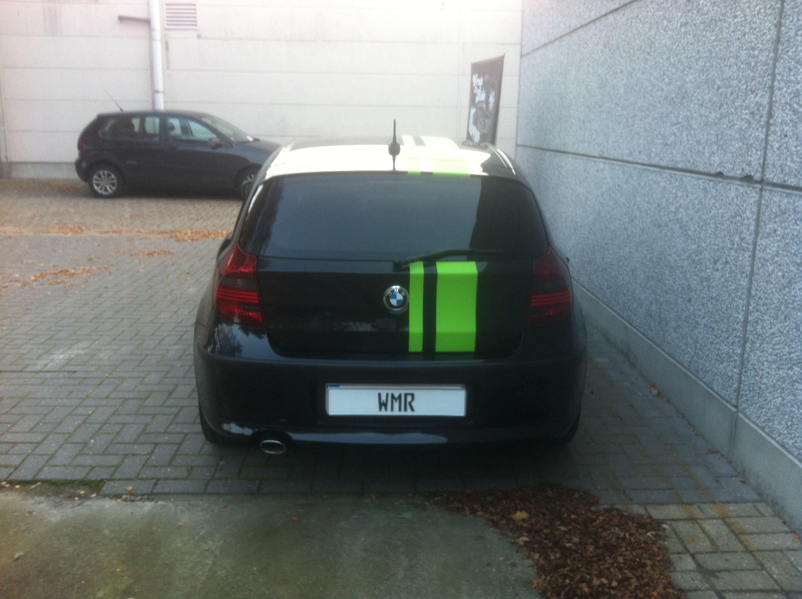 BMW 1 Serie met gedeeltelijke Toxic Green Wrap, Carwrapping door Wrapmyride.nu Foto-nr:5203, ©2021