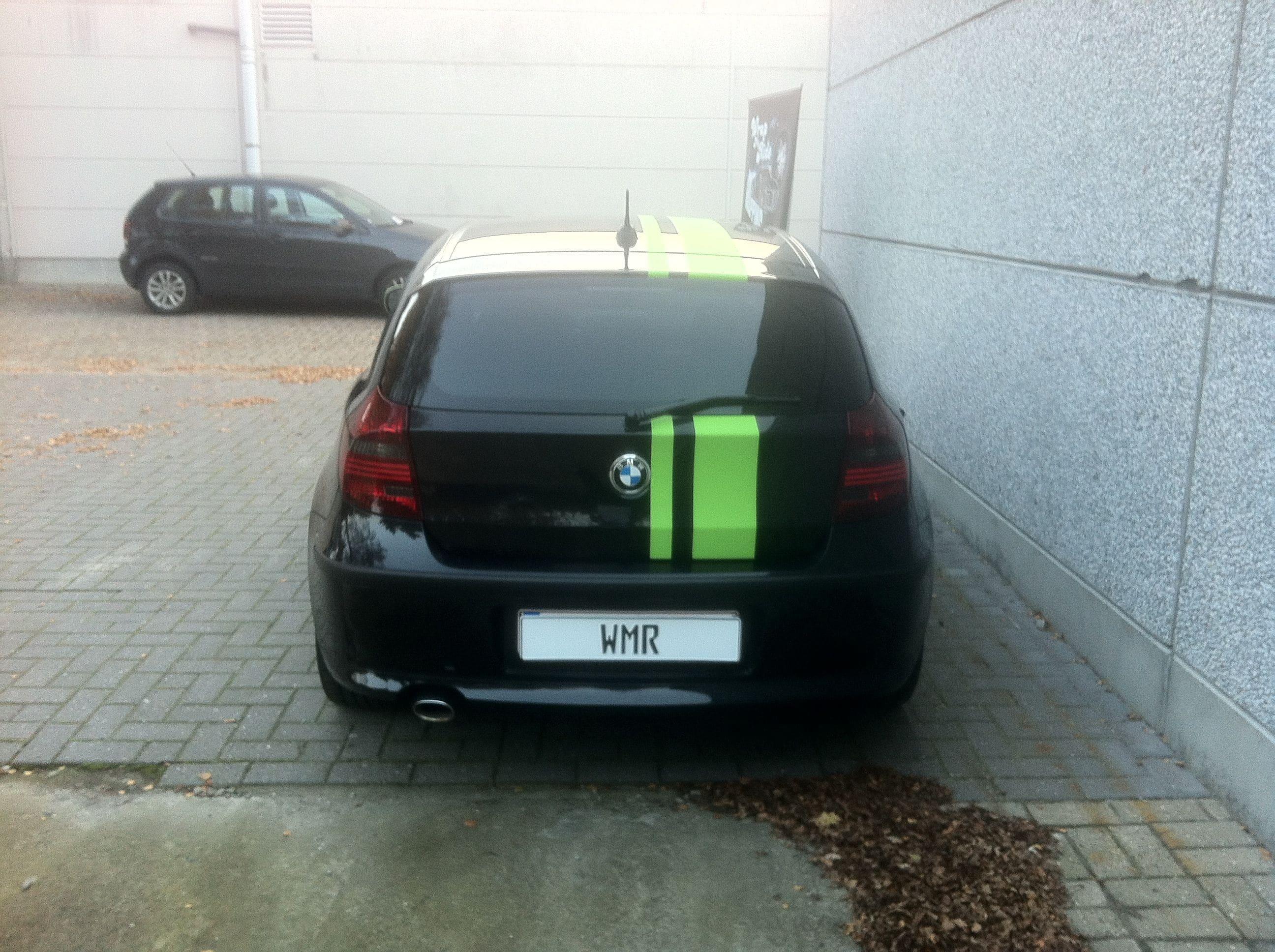 BMW 1 Serie met gedeeltelijke Toxic Green Wrap, Carwrapping door Wrapmyride.nu Foto-nr:5204, ©2021