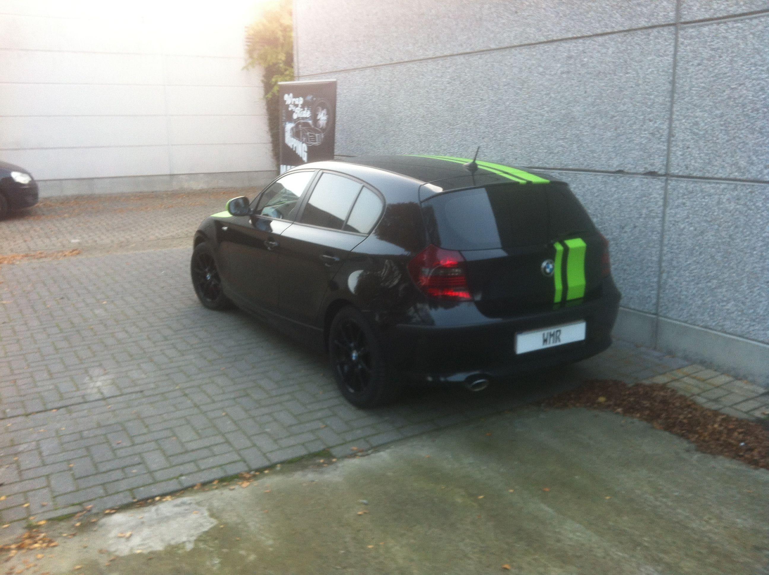 BMW 1 Serie met gedeeltelijke Toxic Green Wrap, Carwrapping door Wrapmyride.nu Foto-nr:5205, ©2021