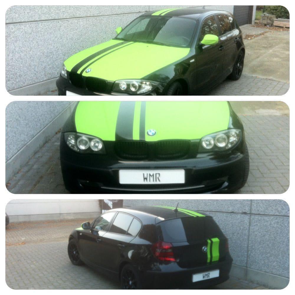BMW 1 Serie met gedeeltelijke Toxic Green Wrap, Carwrapping door Wrapmyride.nu Foto-nr:5206, ©2021