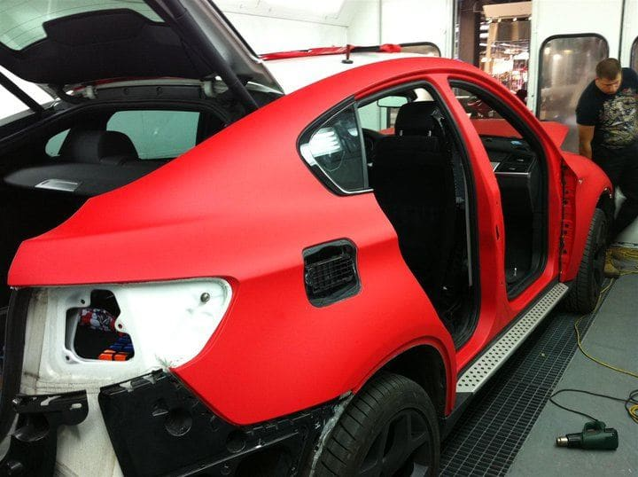 BMW X6 met Mat Rode Wrap, Carwrapping door Wrapmyride.nu Foto-nr:5447, ©2020