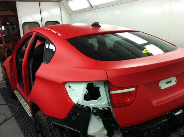 BMW X6 met Mat Rode Wrap, Carwrapping door Wrapmyride.nu Foto-nr:5449, ©2020