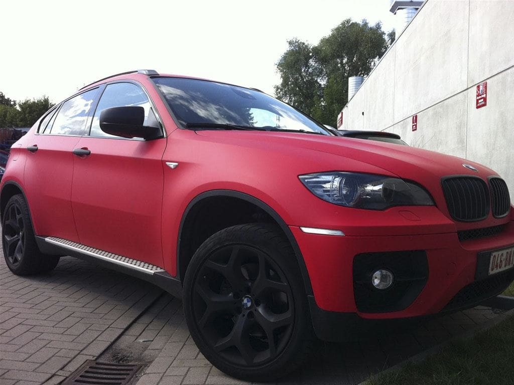 BMW X6 met Mat Rode Wrap, Carwrapping door Wrapmyride.nu Foto-nr:5463, ©2020