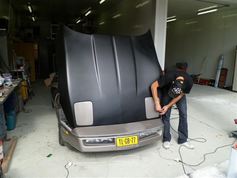 Chevrolet Corvette C4 met Mat Zwarte Wrap, Carwrapping door Wrapmyride.nu Foto-nr:5512, ©2021