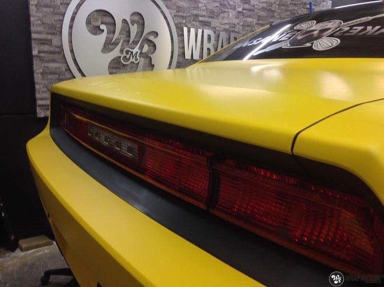 Dodge Challenger matte yellow, Carwrapping door Wrapmyride.nu Foto-nr:8484, ©2021