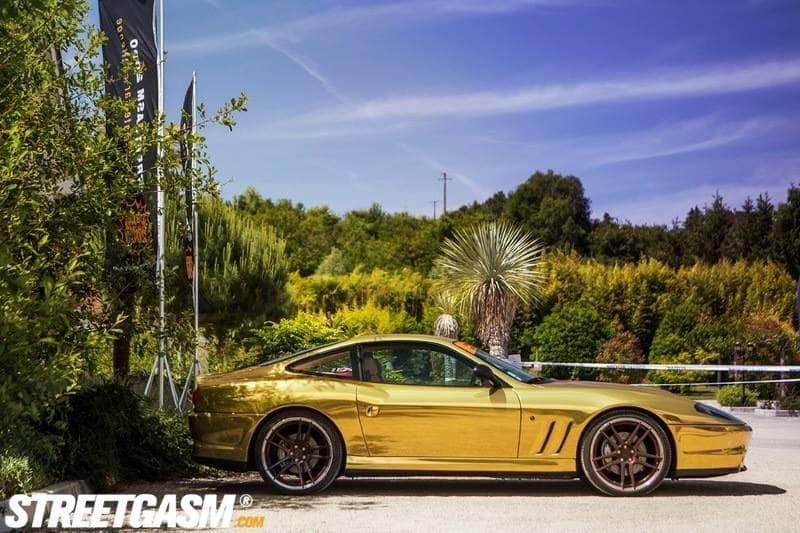 Ferrari 575 met Goud Chrome Wrap., Carwrapping door Wrapmyride.nu Foto-nr:5693, ©2021