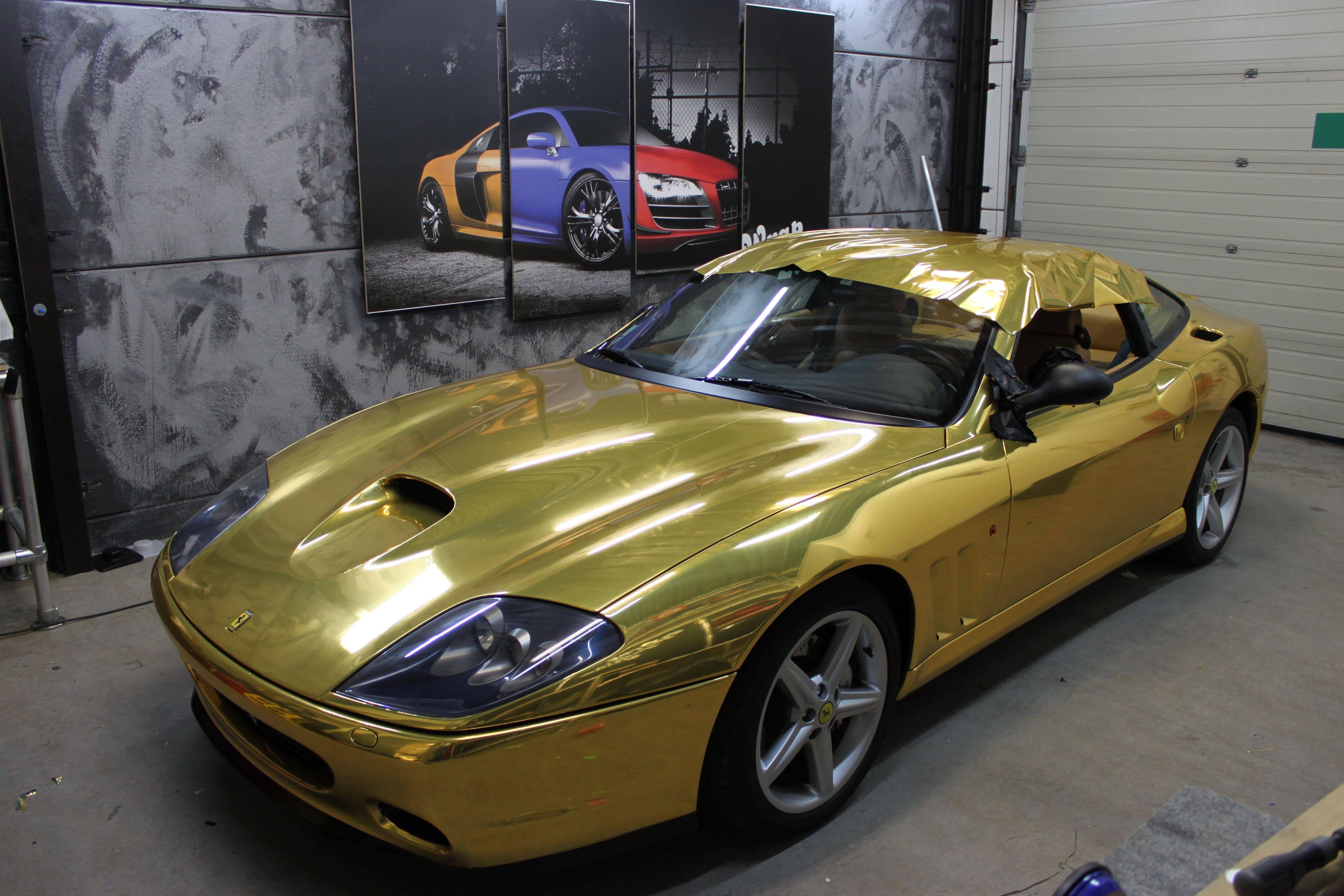 Ferrari 575 met Goud Chrome Wrap., Carwrapping door Wrapmyride.nu Foto-nr:5700, ©2021