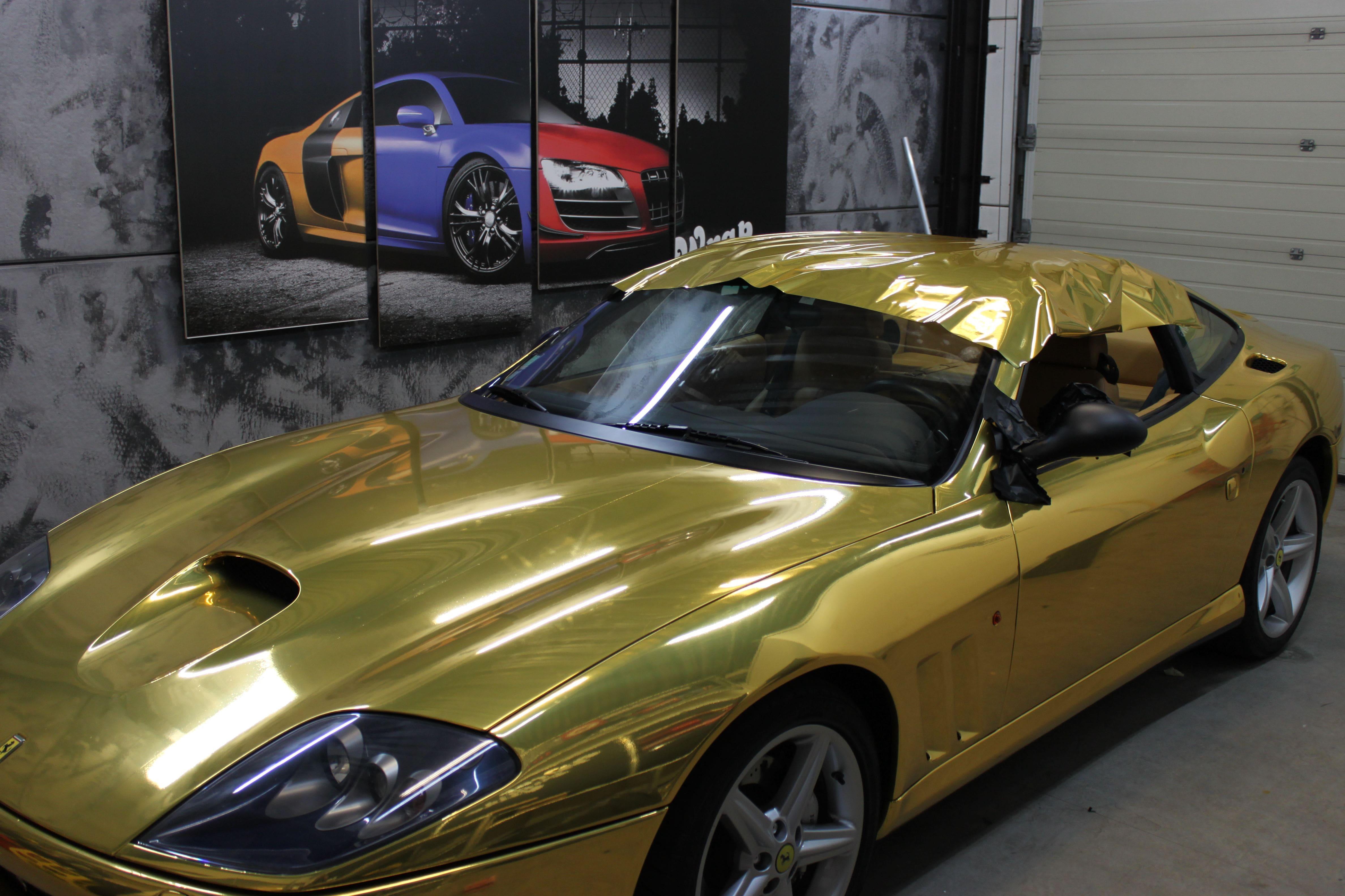 Ferrari 575 met Goud Chrome Wrap., Carwrapping door Wrapmyride.nu Foto-nr:5701, ©2021