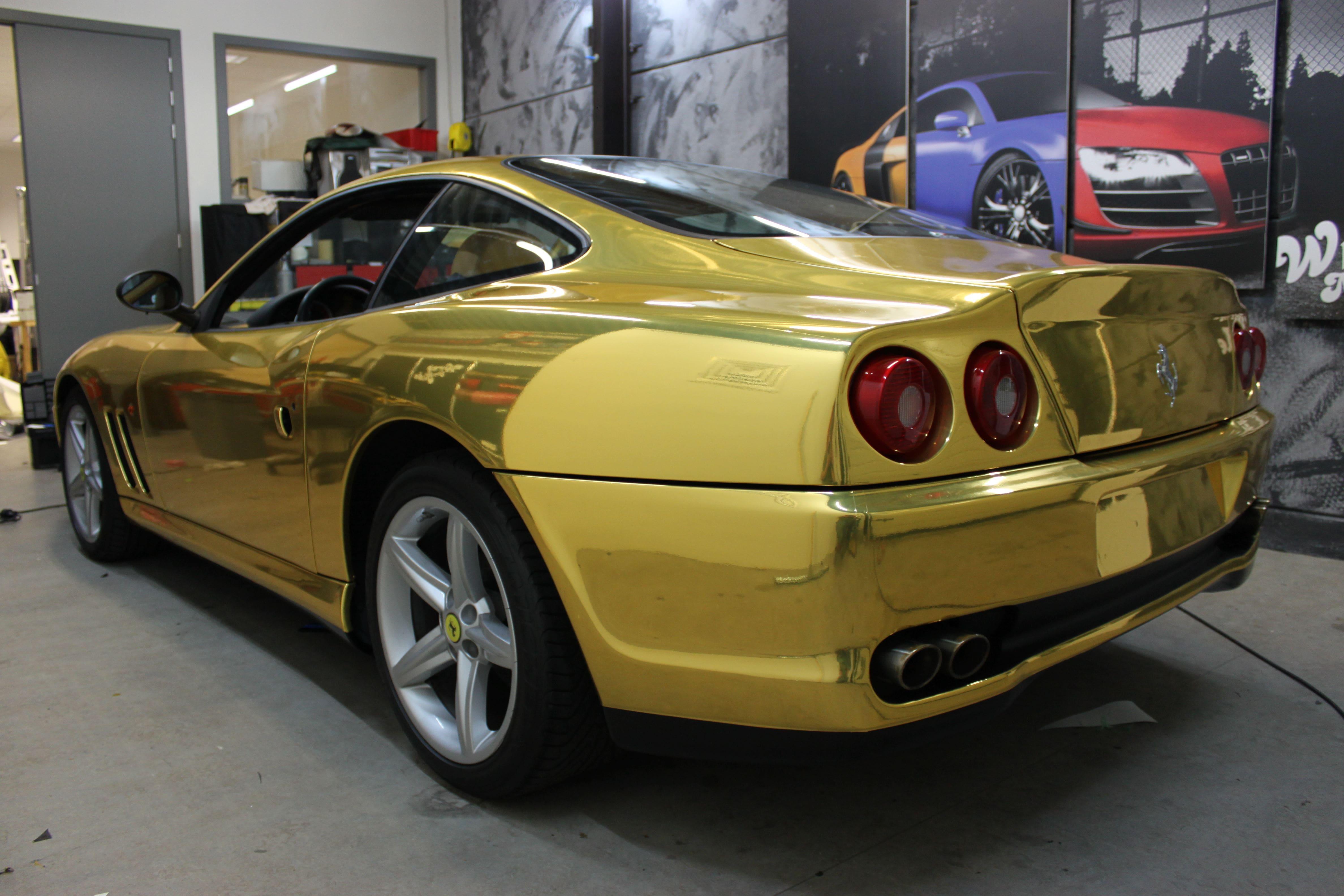 Ferrari 575 met Goud Chrome Wrap., Carwrapping door Wrapmyride.nu Foto-nr:5703, ©2021