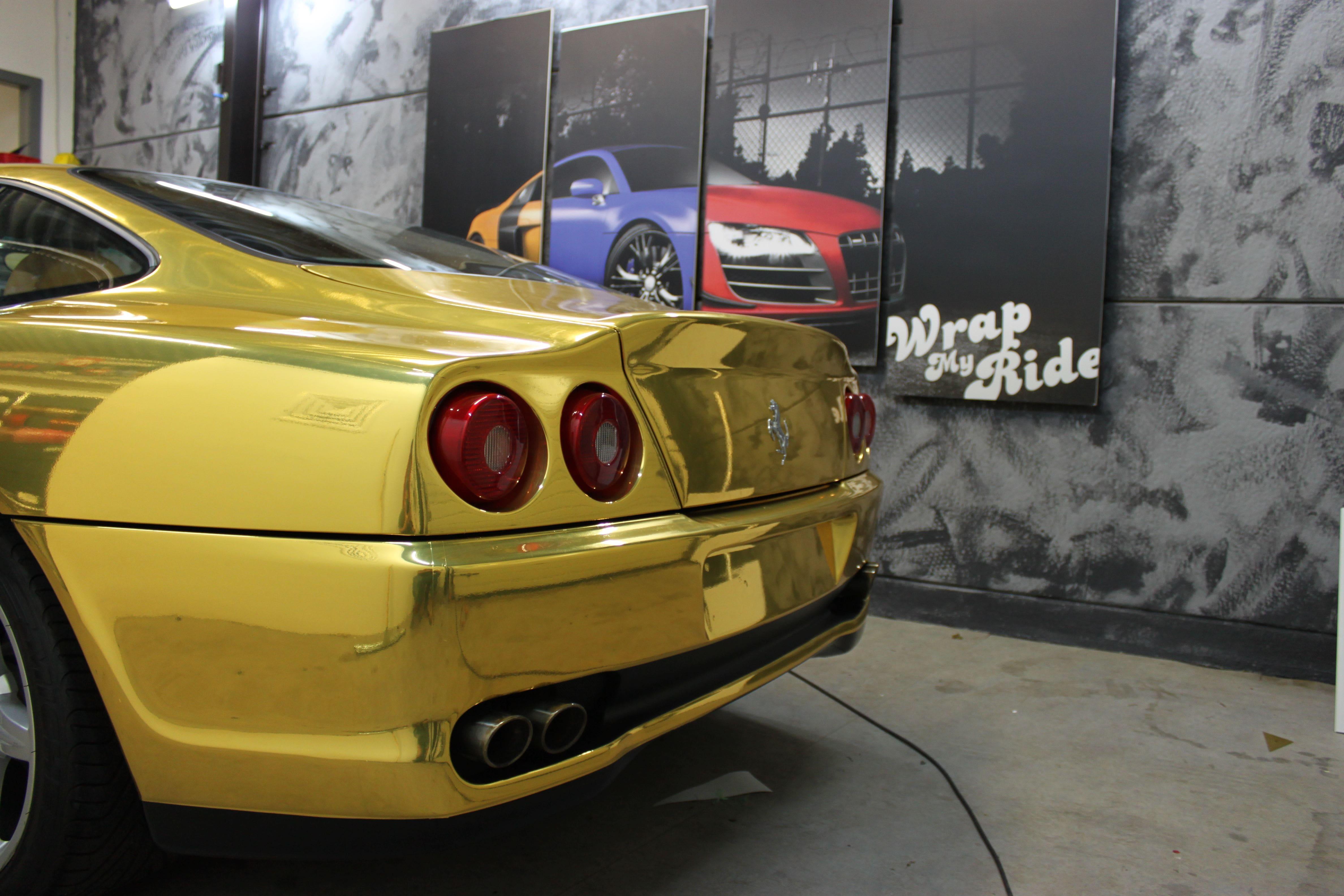 Ferrari 575 met Goud Chrome Wrap., Carwrapping door Wrapmyride.nu Foto-nr:5704, ©2021