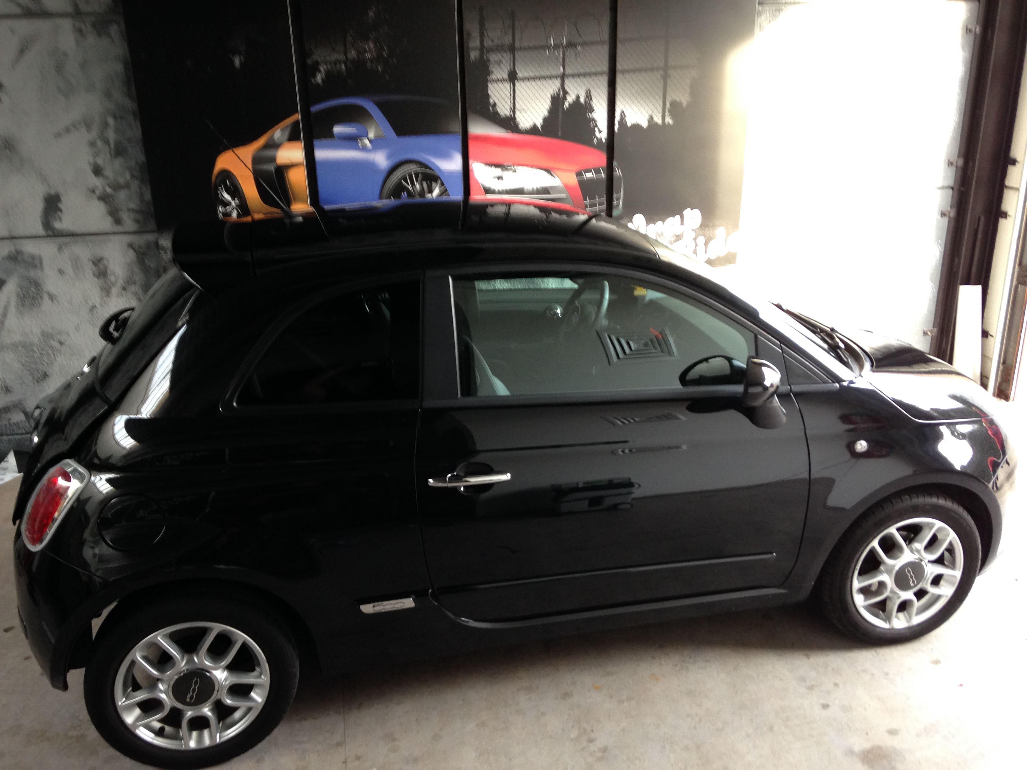Fiat 500 met Cyber Grape Wrap, Carwrapping door Wrapmyride.nu Foto-nr:5710, ©2021