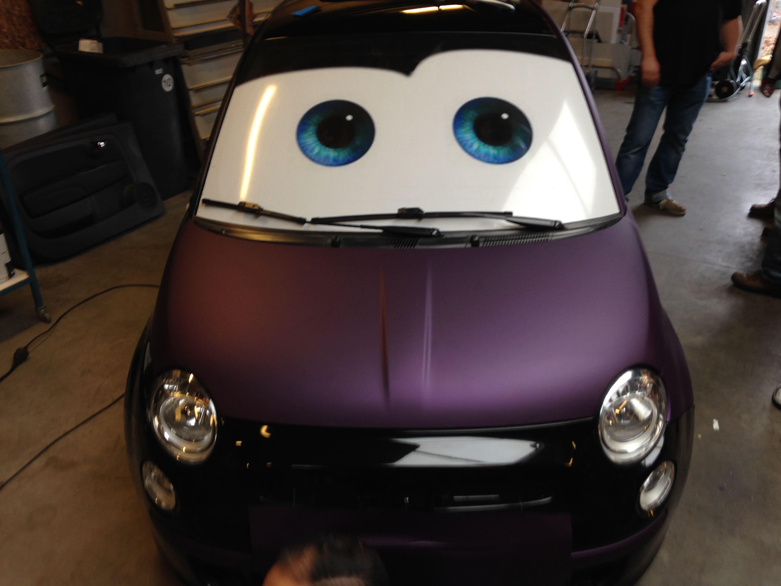 Fiat 500 met Cyber Grape Wrap, Carwrapping door Wrapmyride.nu Foto-nr:5712, ©2020