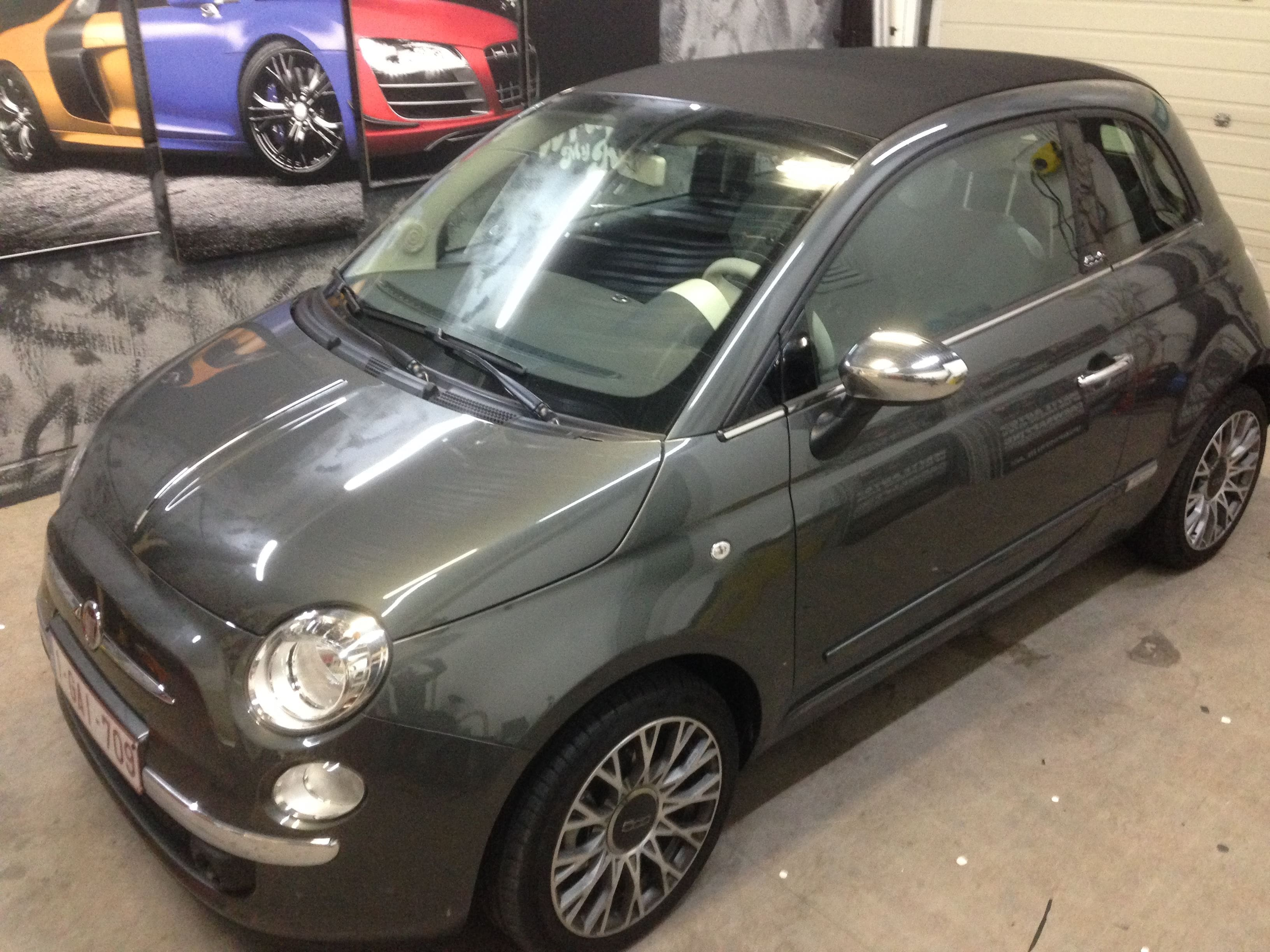 Fiat 500 met Glossy White Wrap, Carwrapping door Wrapmyride.nu Foto-nr:5722, ©2020