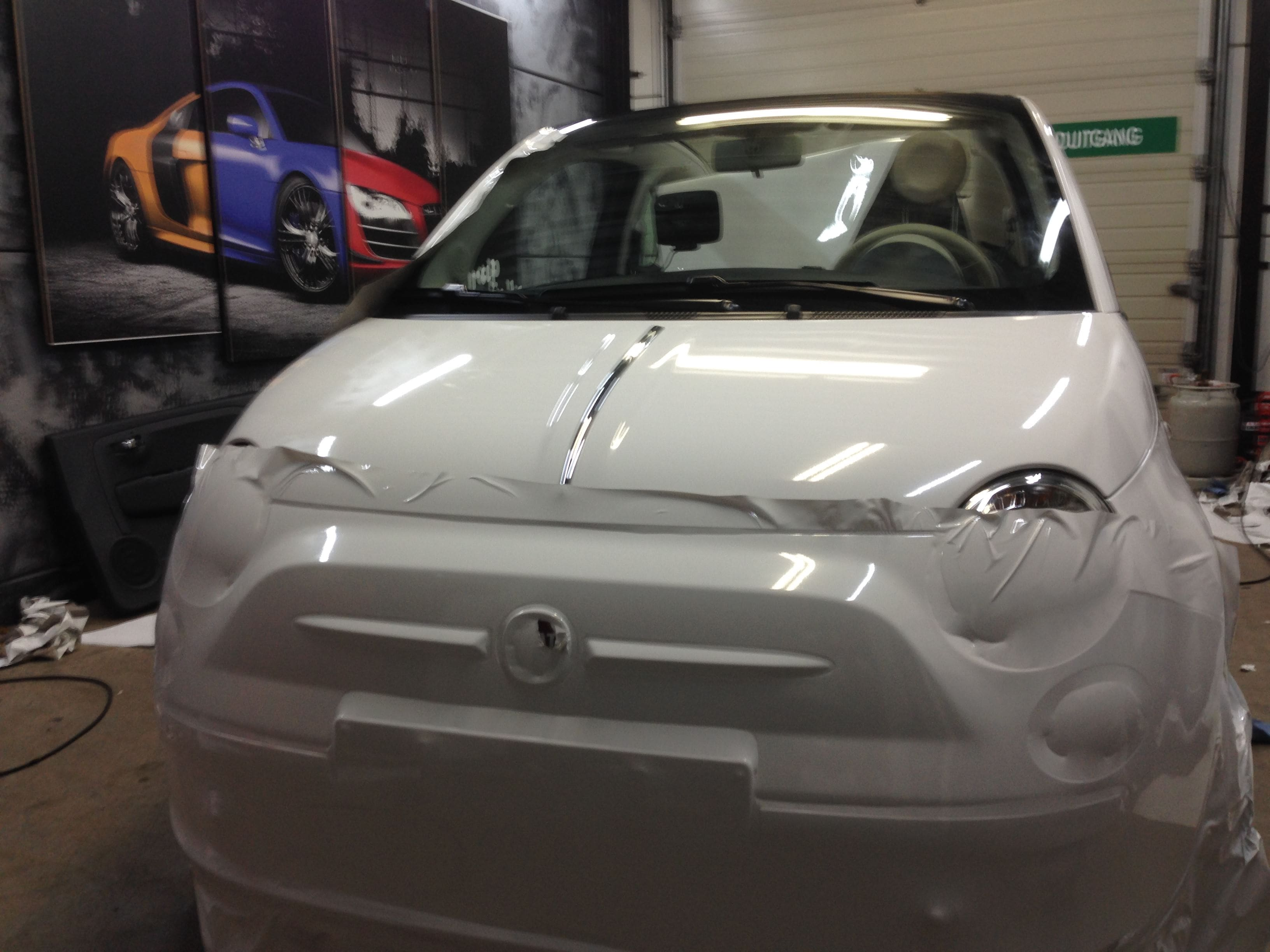 Fiat 500 met Glossy White Wrap, Carwrapping door Wrapmyride.nu Foto-nr:5723, ©2020
