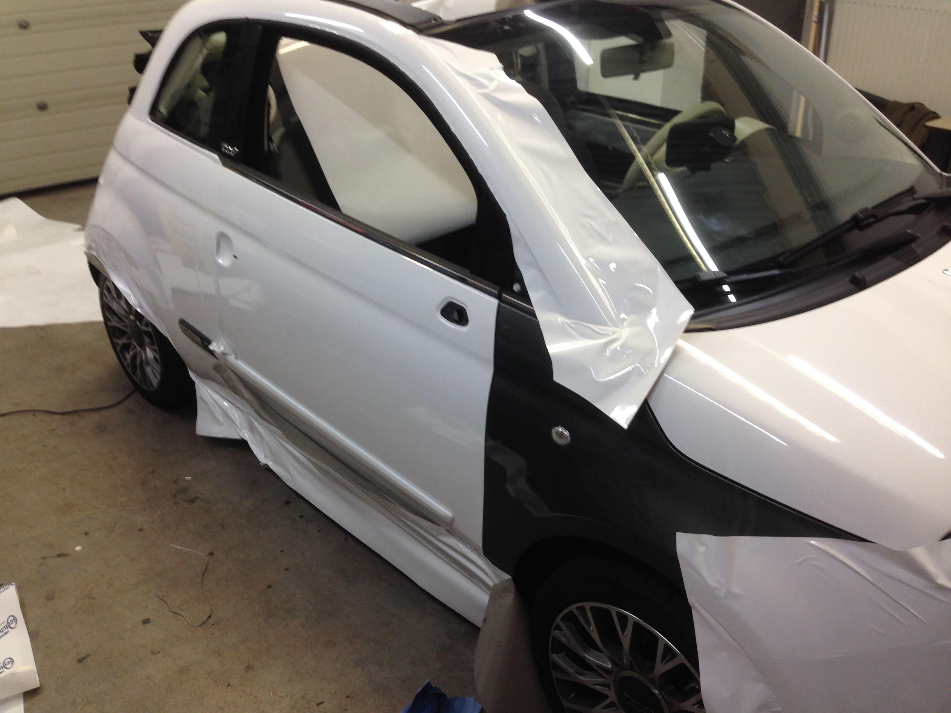 Fiat 500 met Glossy White Wrap, Carwrapping door Wrapmyride.nu Foto-nr:5725, ©2020