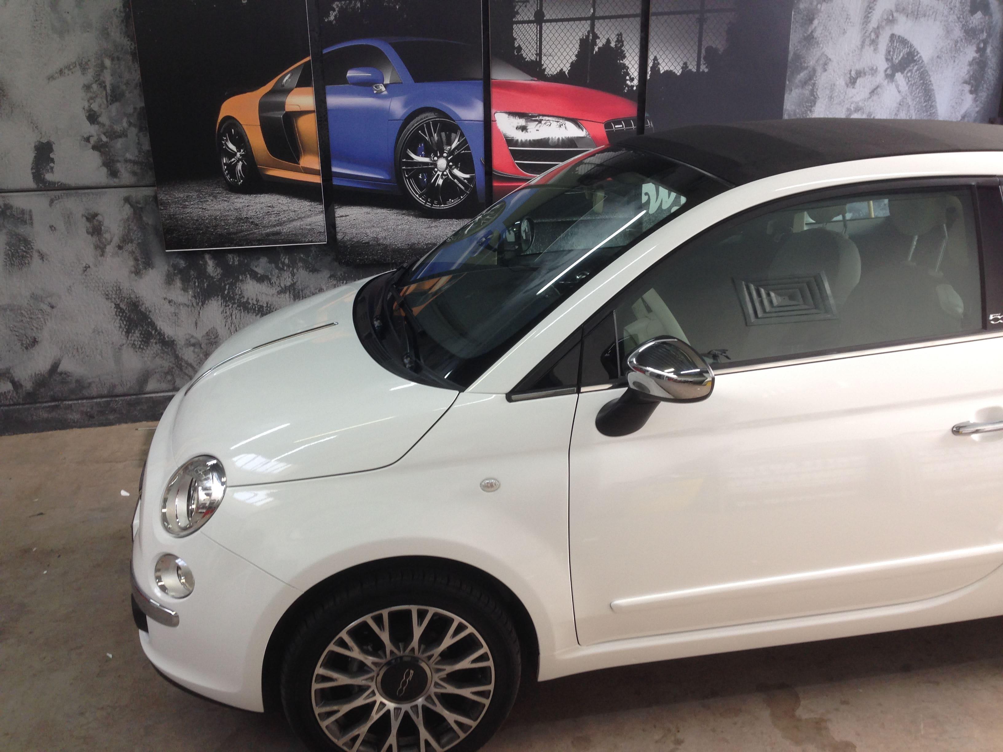 Fiat 500 met Glossy White Wrap, Carwrapping door Wrapmyride.nu Foto-nr:5726, ©2020