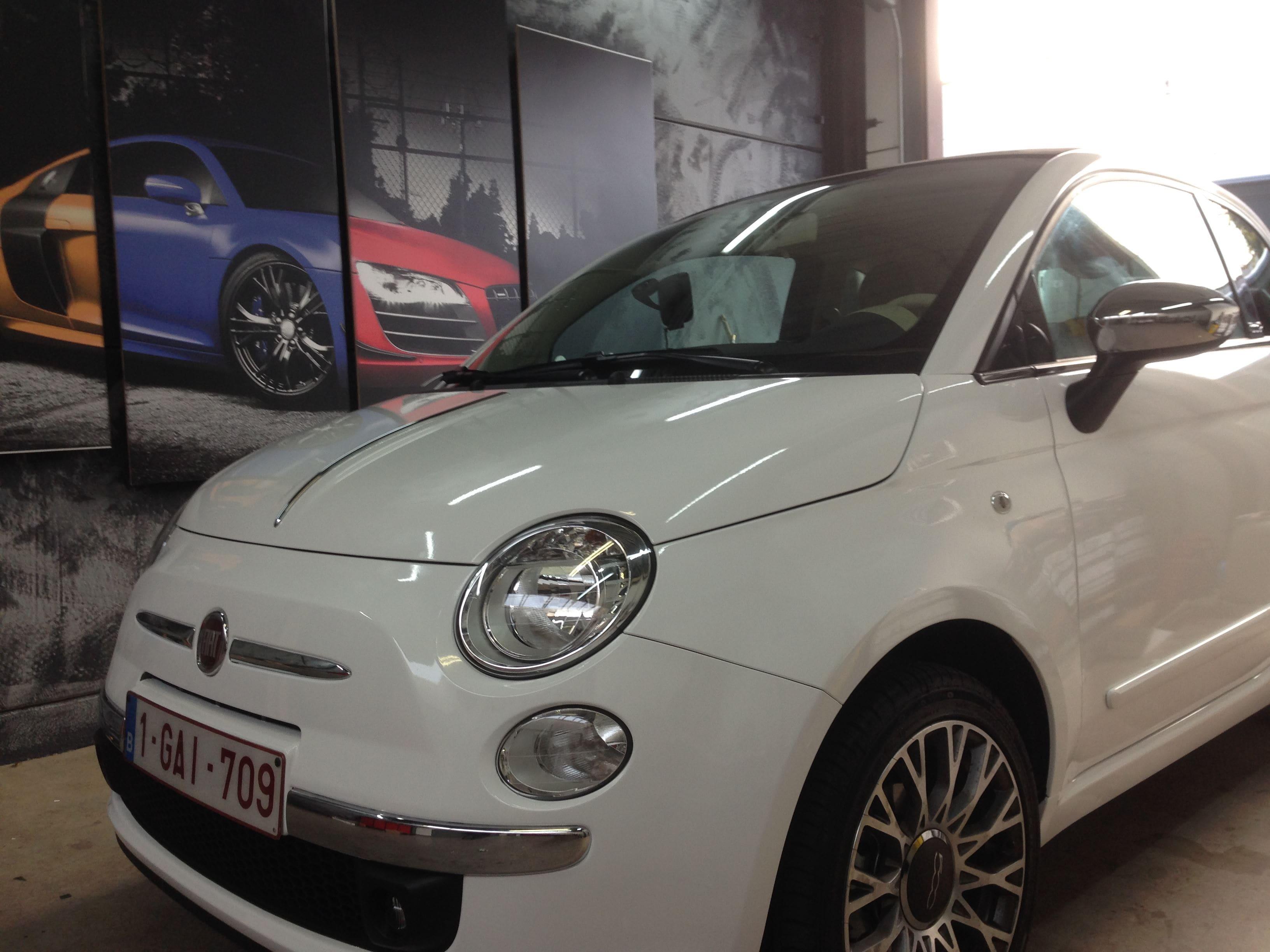 Fiat 500 met Glossy White Wrap, Carwrapping door Wrapmyride.nu Foto-nr:5727, ©2020