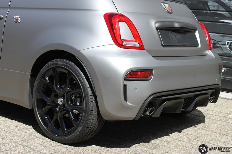Fiat 595 Abart naar matte grey Aluminium, Carwrapping door Wrapmyride.nu Foto-nr:10012, ©2021