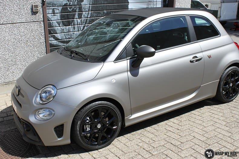 Fiat 595 Abart naar matte grey Aluminium, Carwrapping door Wrapmyride.nu Foto-nr:10014, ©2018
