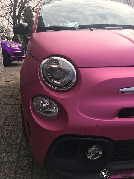 Fiat 695 Abarth avery matte pink metallic, Carwrapping door Wrapmyride.nu Foto-nr:11221, ©2018