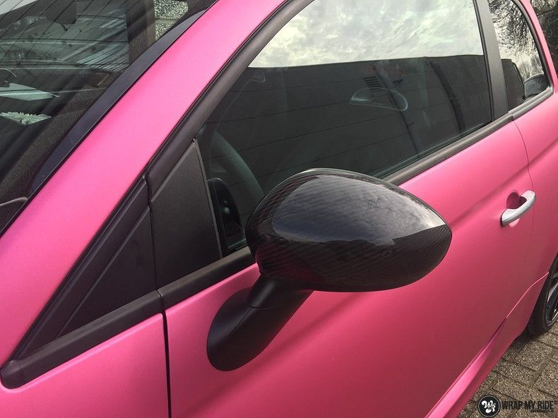 Fiat 695 Abarth avery matte pink metallic, Carwrapping door Wrapmyride.nu Foto-nr:11220, ©2019