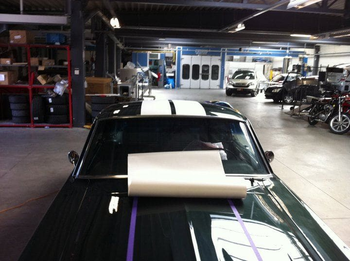 Ford Mustang '69 met Witte Striping, Carwrapping door Wrapmyride.nu Foto-nr:5793, ©2021