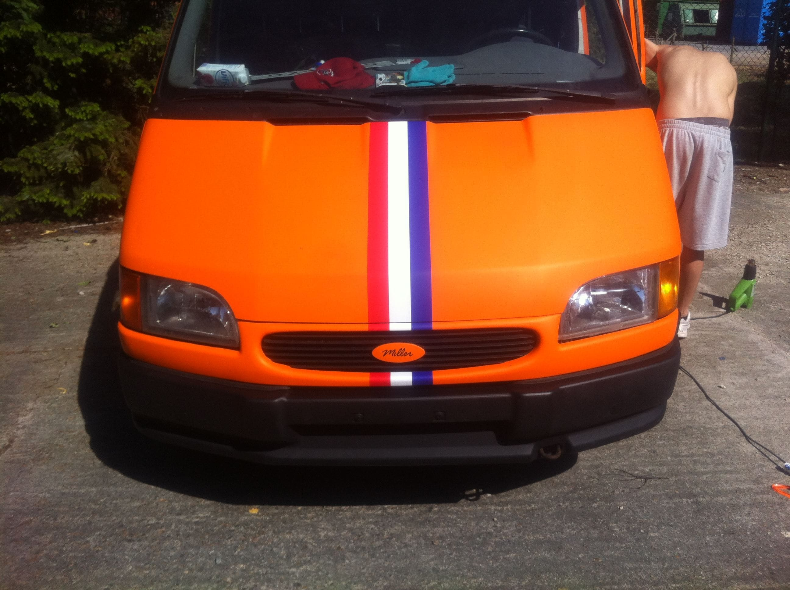 Ford Transit met Mat Oranje Wrap, Carwrapping door Wrapmyride.nu Foto-nr:5845, ©2021