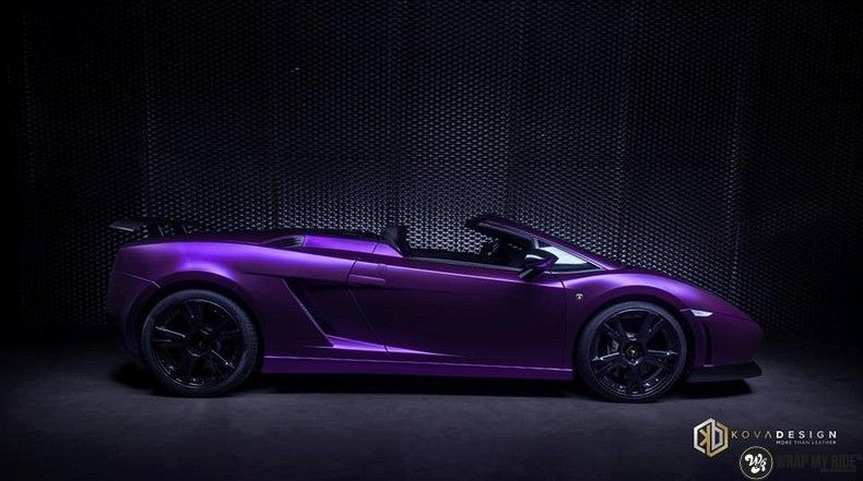Lamborghini Gallardo Spider matte purple chrome, Carwrapping door Wrapmyride.nu Foto-nr:11238, ©2018
