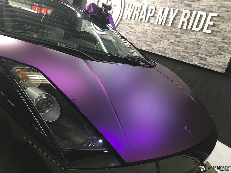 Lamborghini Gallardo Spider matte purple chrome, Carwrapping door Wrapmyride.nu Foto-nr:11246, ©2018