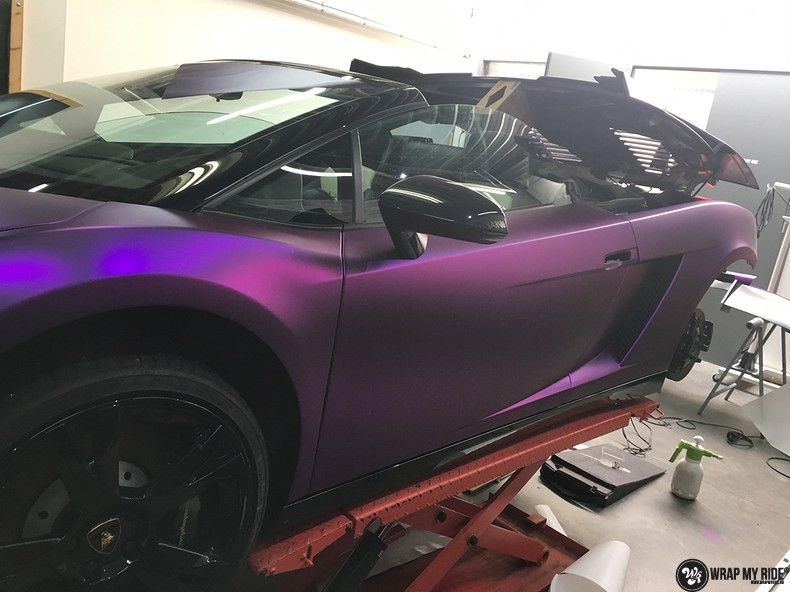 Lamborghini Gallardo Spider matte purple chrome, Carwrapping door Wrapmyride.nu Foto-nr:11259, ©2018