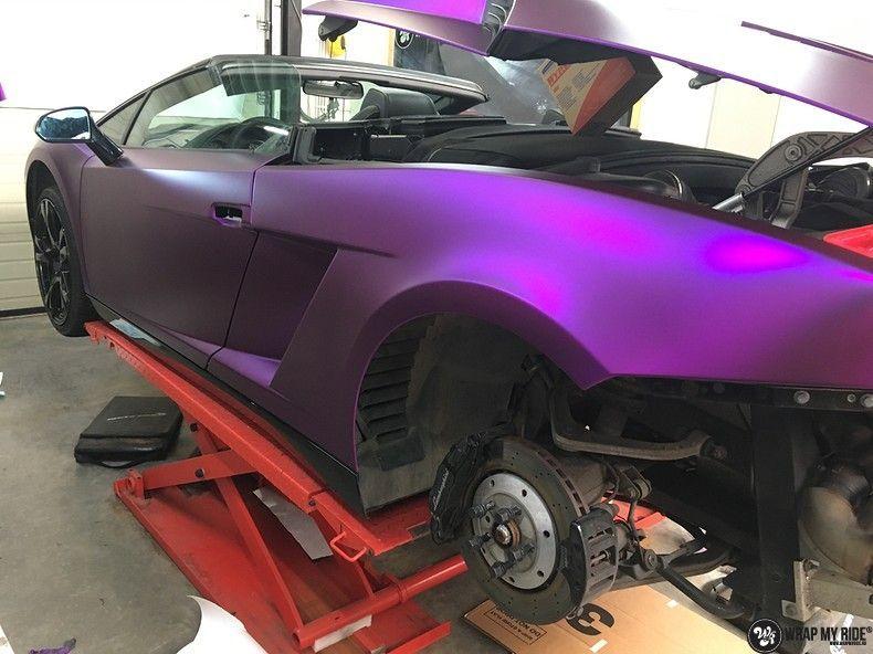Lamborghini Gallardo Spider matte purple chrome, Carwrapping door Wrapmyride.nu Foto-nr:11257, ©2018