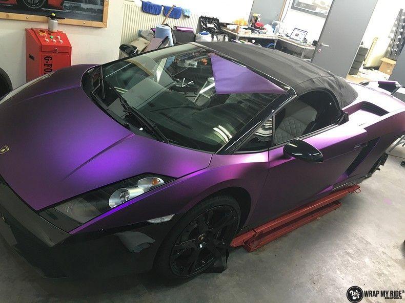 Lamborghini Gallardo Spider matte purple chrome, Carwrapping door Wrapmyride.nu Foto-nr:11256, ©2018