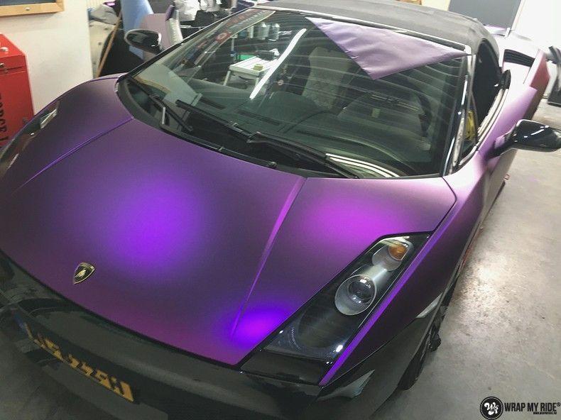 Lamborghini Gallardo Spider matte purple chrome, Carwrapping door Wrapmyride.nu Foto-nr:11254, ©2018