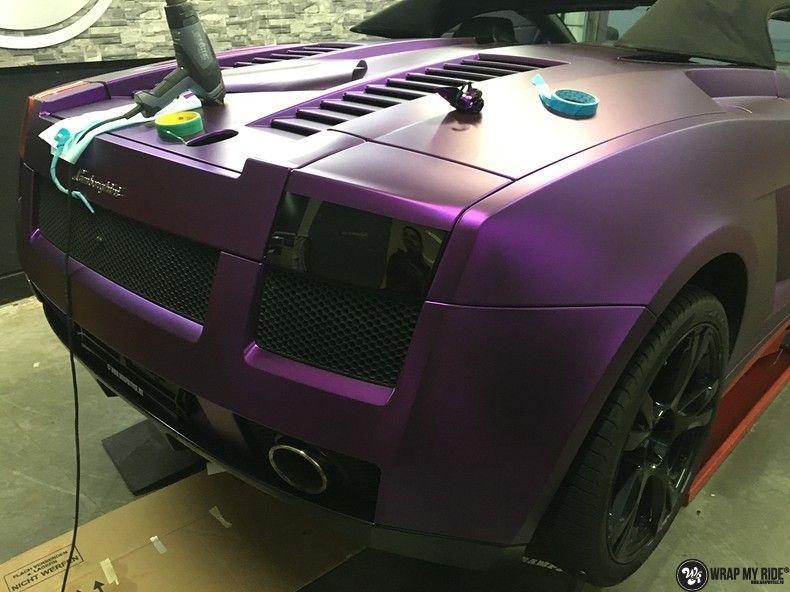 Lamborghini Gallardo Spider matte purple chrome, Carwrapping door Wrapmyride.nu Foto-nr:11275, ©2018
