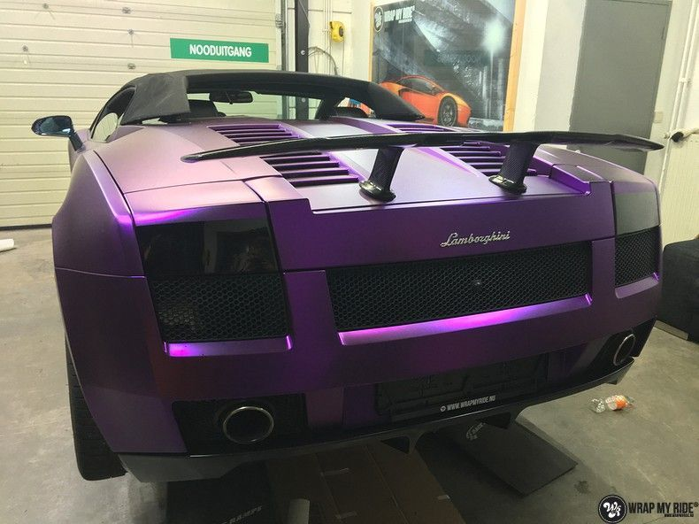 Lamborghini Gallardo Spider matte purple chrome, Carwrapping door Wrapmyride.nu Foto-nr:11273, ©2018