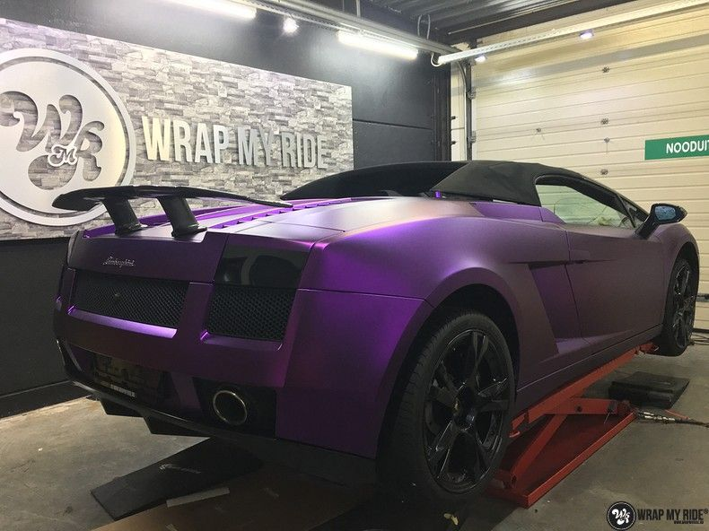 Lamborghini Gallardo Spider matte purple chrome, Carwrapping door Wrapmyride.nu Foto-nr:11272, ©2018