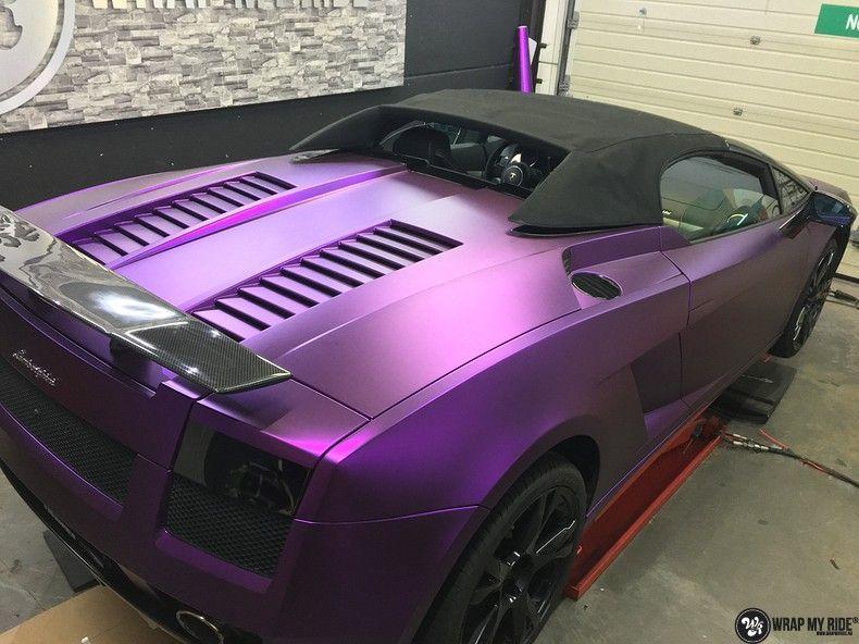 Lamborghini Gallardo Spider matte purple chrome, Carwrapping door Wrapmyride.nu Foto-nr:11267, ©2018