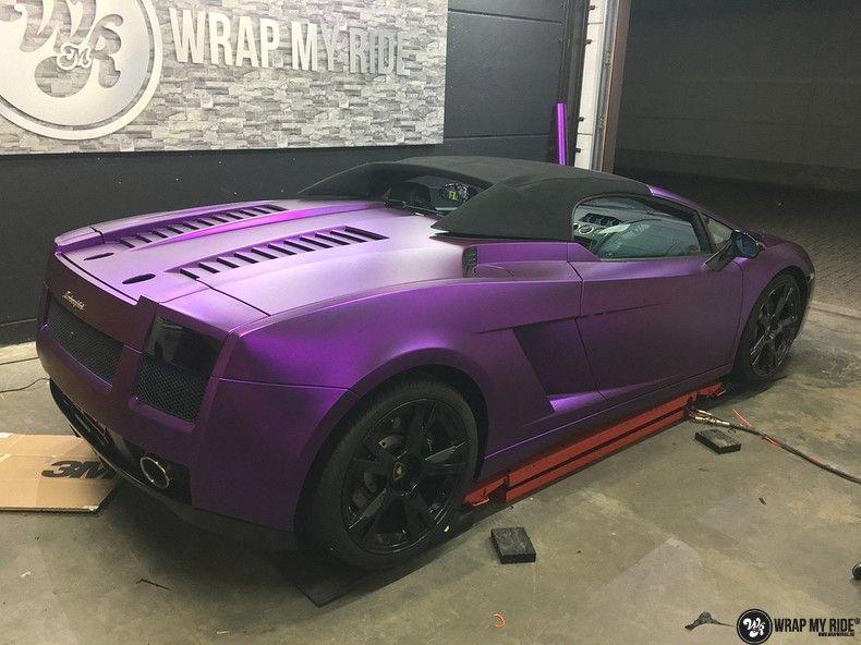 Lamborghini Gallardo Spider matte purple chrome, Carwrapping door Wrapmyride.nu Foto-nr:11265, ©2018