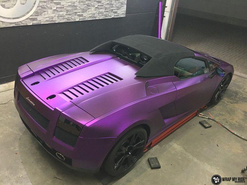 Lamborghini Gallardo Spider matte purple chrome, Carwrapping door Wrapmyride.nu Foto-nr:11264, ©2018