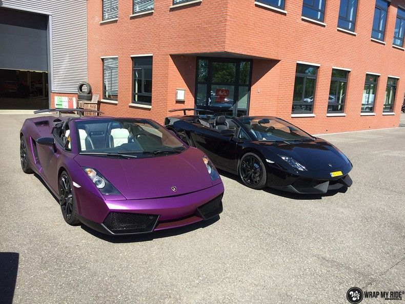 Lamborghini Gallardo Spider matte purple chrome, Carwrapping door Wrapmyride.nu Foto-nr:11288, ©2018
