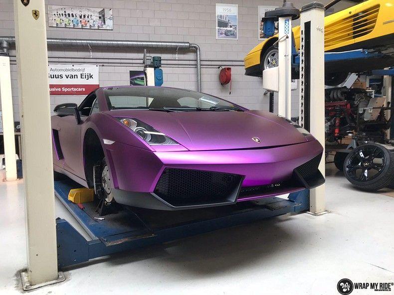 Lamborghini Gallardo Spider matte purple chrome, Carwrapping door Wrapmyride.nu Foto-nr:11290, ©2018