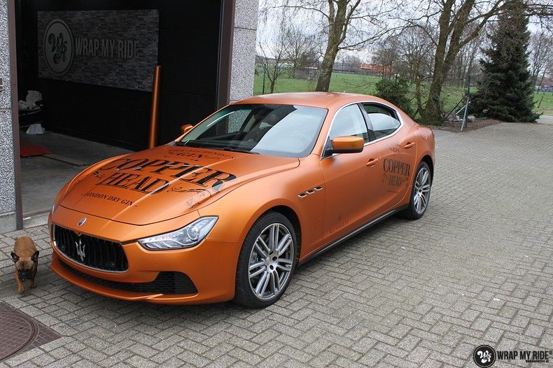 Maserati ghibli satin canyon copper, Carwrapping door Wrapmyride.nu Foto-nr:11596, ©2020