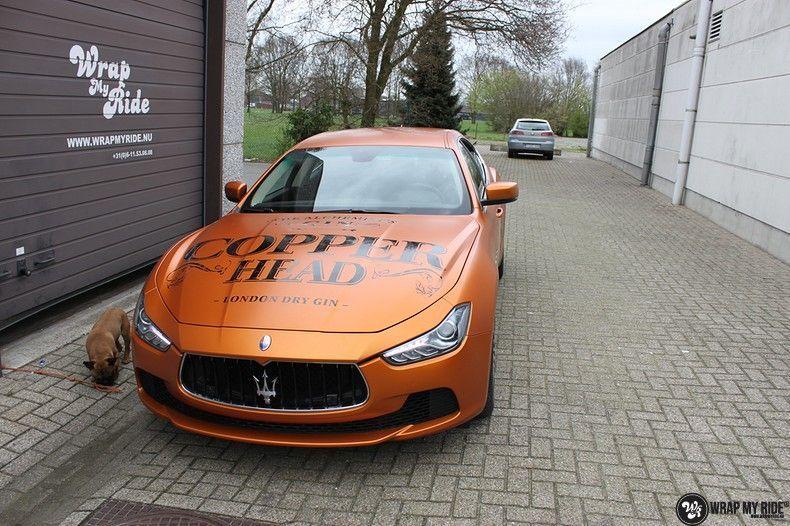 Maserati ghibli satin canyon copper, Carwrapping door Wrapmyride.nu Foto-nr:11597, ©2020