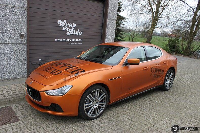 Maserati ghibli satin canyon copper, Carwrapping door Wrapmyride.nu Foto-nr:11598, ©2020