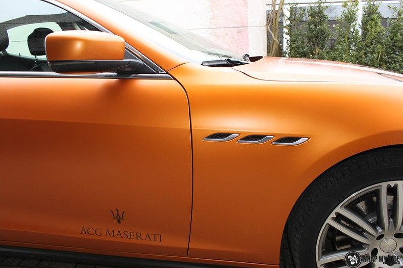 Maserati ghibli satin canyon copper, Carwrapping door Wrapmyride.nu Foto-nr:11601, ©2020