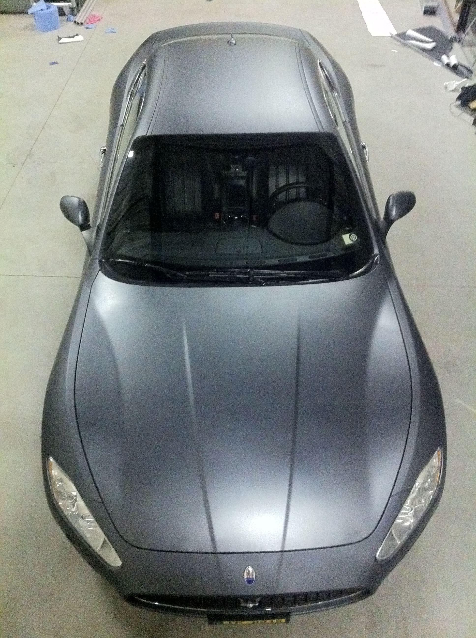 Maserati Gran Turismo met Mat Zwarte Wrap, Carwrapping door Wrapmyride.nu Foto-nr:6037, ©2020